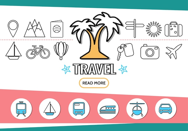 Icônes de ligne de voyage sertie de palmier transport navigation broche montagnes passeport enseigne soleil