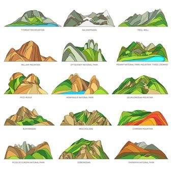 Icônes linéaires du vecteur de paysages naturels du monde