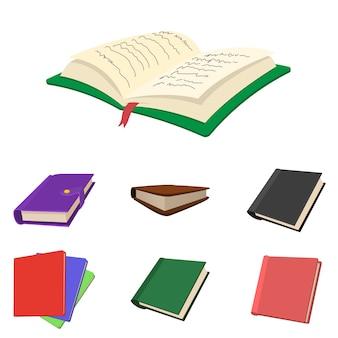 Icônes de livre mis en vecteur de style de dessin animé isolé