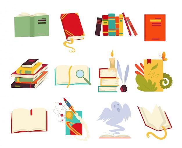 Icônes de livres mis en style de design avec dragon, plumes d'oiseau, bougie, signet et ruban.