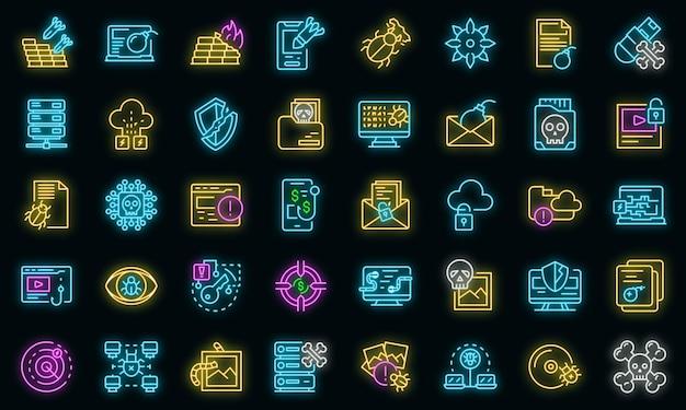 Icônes de logiciels malveillants définies vecteur néon