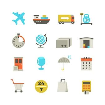 Icônes de logistique de livraison d'importation et d'exportation