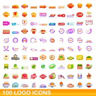 Icônes de logo définies. bande dessinée illustration d'icônes du logo sur fond blanc