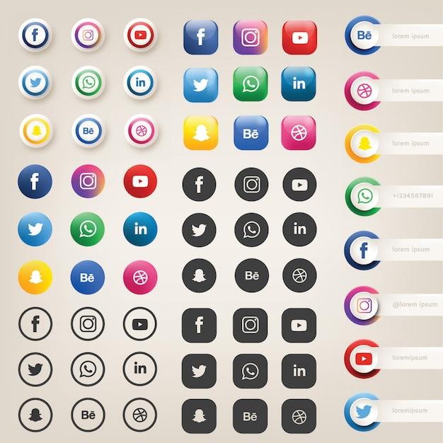 Icônes ou logos de médias sociaux
