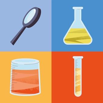 Icônes de la loupe et de la chimie