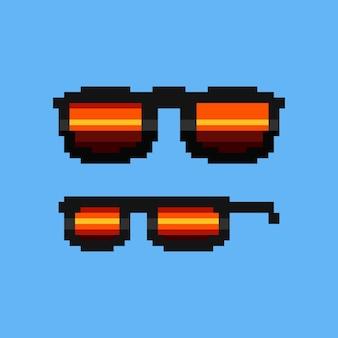 Icônes de lunettes de soleil rétro pixel art