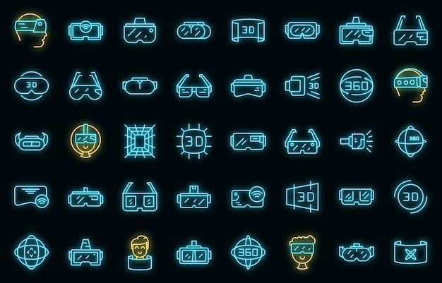 Icônes de lunettes virtuelles définies néon vectoriel