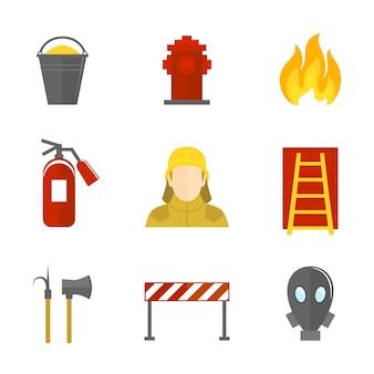 Icônes de lutte contre les incendies à plat