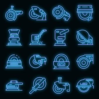 Icônes de la machine de meulage définies vecteur néon