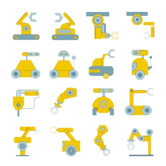 Icônes de machines industrielles et robot industriel