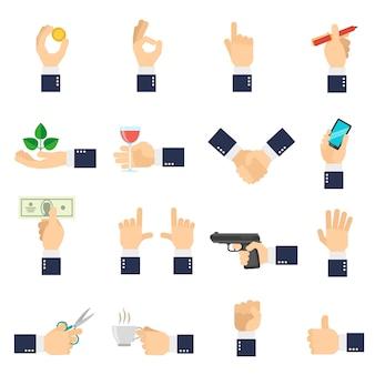 Icônes de main d'affaires plat