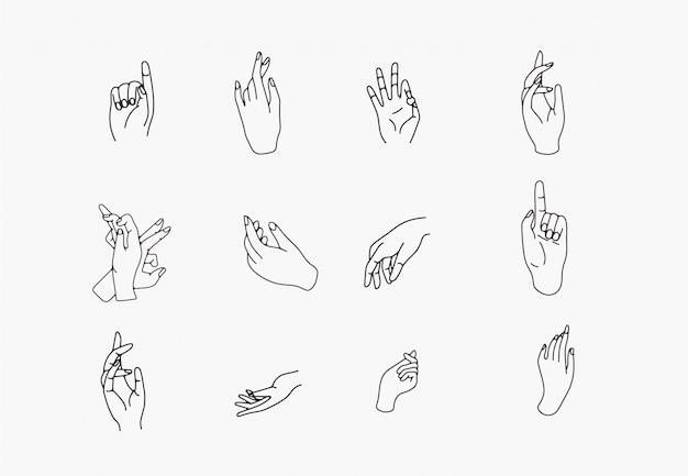 Icônes de main dessinés à la main dans un style simple d'art de ligne minimaliste.