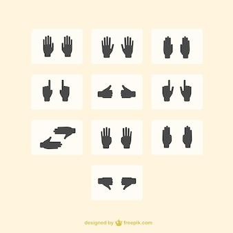 Icônes à main mis