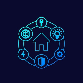 Icônes de maison intelligente, dessin vectoriel