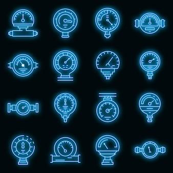 Icônes de manomètre définies vecteur néon