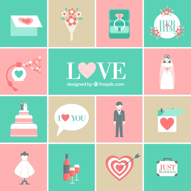Icônes de mariage romantique