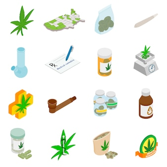 Icônes de marijuana médicale dans un style 3d isométrique sur blanc