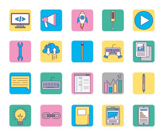 Icônes de marketing d'affaires en ligne mis des icônes