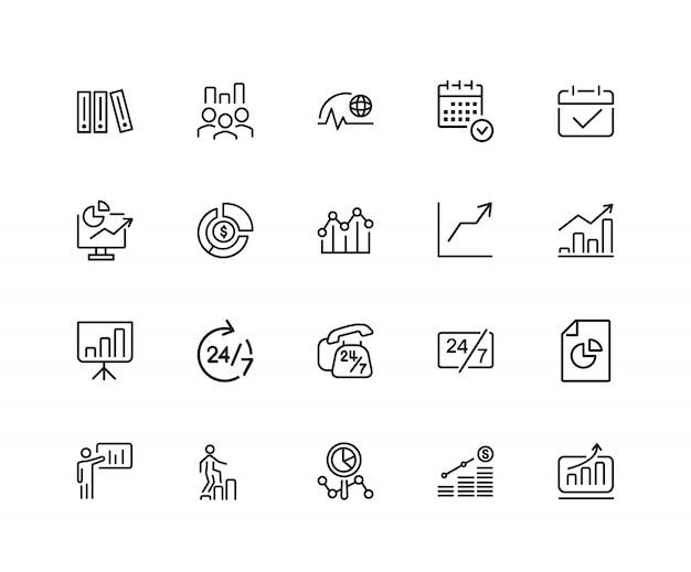 Icônes de marketing. ensemble de vingt icônes de ligne. carrière, croissance, service ouvert 24h / 24