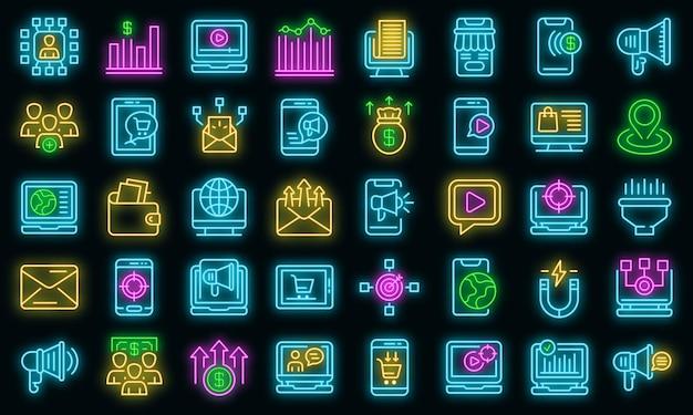 Icônes de marketing en ligne définies vecteur néon