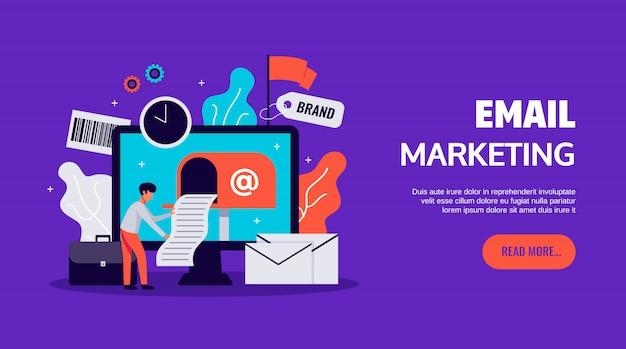 Icônes de marketing numérique sertie de symboles d'affaires en ligne plat isolé