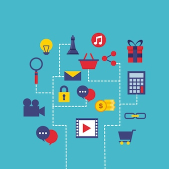 Icônes marketing numérique set line