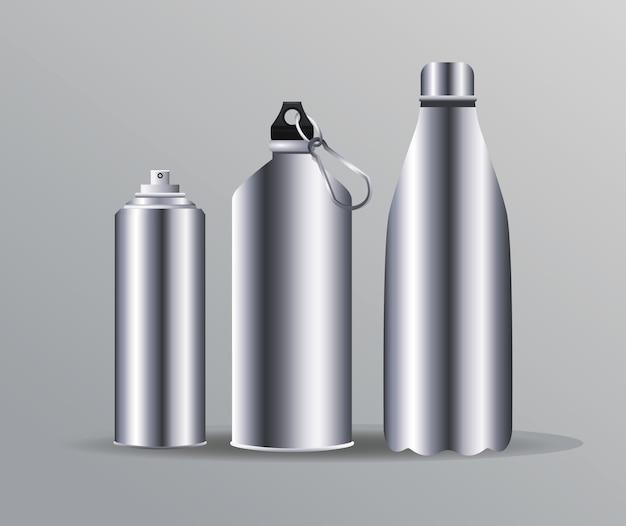 Icônes de marque de bouteilles d'eau en aluminium