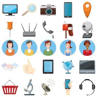 Icônes de matériel de bureau définies dans un style bande dessinée sur un fond blanc