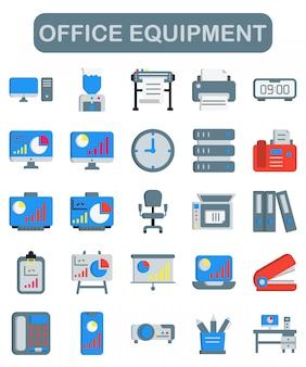 Icônes de matériel de bureau définies dans un style plat