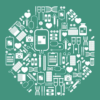 Icônes de matériel médical défini vecteur