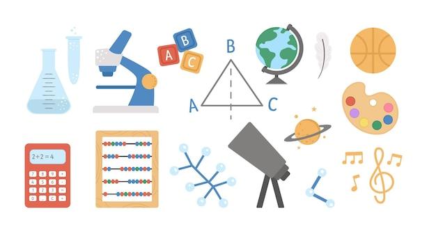 Icônes de matières scolaires vectorielles. collection de signes de classe. retour à l'école clipart