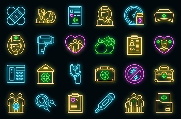 Icônes de médecin de famille définies vecteur néon