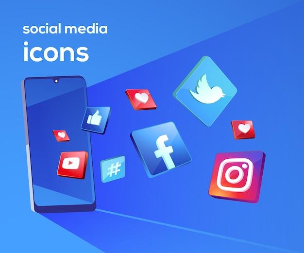 Icônes de médias sociaux 3d avec symbole de smartphone