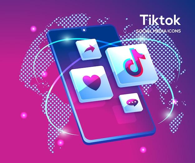Icônes de médias sociaux 3d tiktiok avec symbole de smartphone
