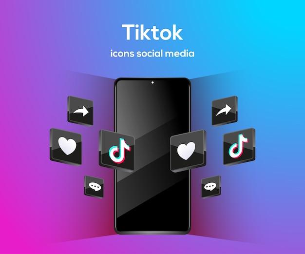 Icônes de médias sociaux 3d youtube avec symbole de smartphone