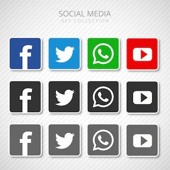 Icônes de médias sociaux abstraits mis vecteur de collection