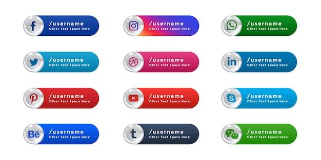 Icônes de médias sociaux bannière web tiers inférieur ensemble