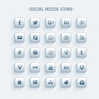 Icônes de médias sociaux brillants propres