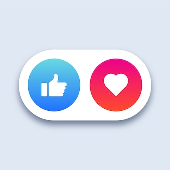 Icônes de médias sociaux et cœur