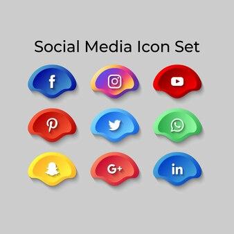 Les icônes des médias sociaux définissent l'effet du bouton 3d