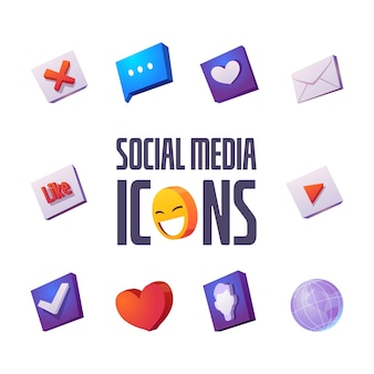Icônes de médias sociaux dessin animé mis bulle de dialogue, sourire et enveloppes avec coeur, comme et croix, coche, globe terrestre et profil utilisateur pour internet, interface d'application ou site web signes vectoriels isolés