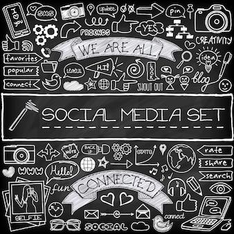 Icônes de médias sociaux de doodle avec effet tableau noir