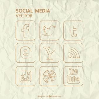 Icônes de médias sociaux établis vecteur main