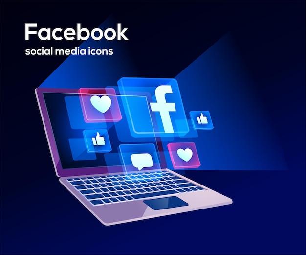 Icônes de médias sociaux facebook avec symbole d'ordinateur portable