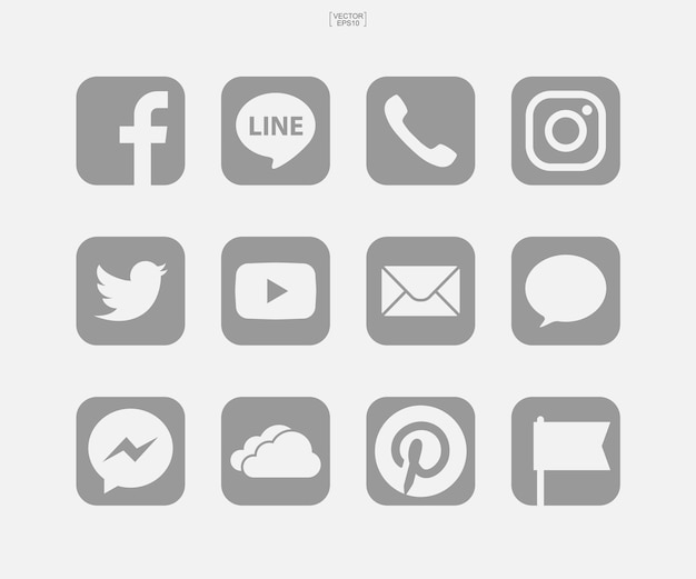 Icônes de médias sociaux sur fond blanc. illustration vectorielle.