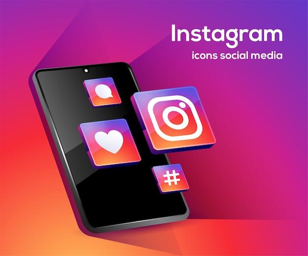 Icônes de médias sociaux instagram avec symbole de smartphone