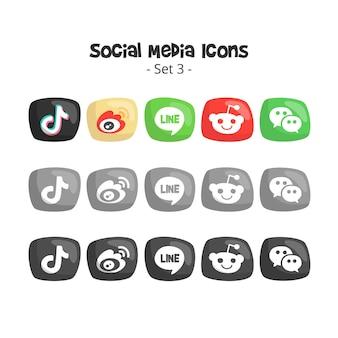 Icônes de médias sociaux mignons et 3