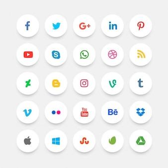 Icônes de médias sociaux minimes plats