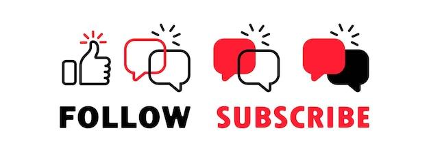 Icônes de médias sociaux. pouce en l'air et icône de chat avec commentaire. suivez-nous bannière. étiquette avec icône pouce levé. icônes de signes plats sur fond blanc. illustration vectorielle
