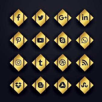 Icônes de médias sociaux premium en or